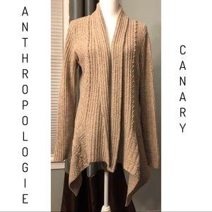 Anthro Canary Knitting Needles Cardigan Size Large